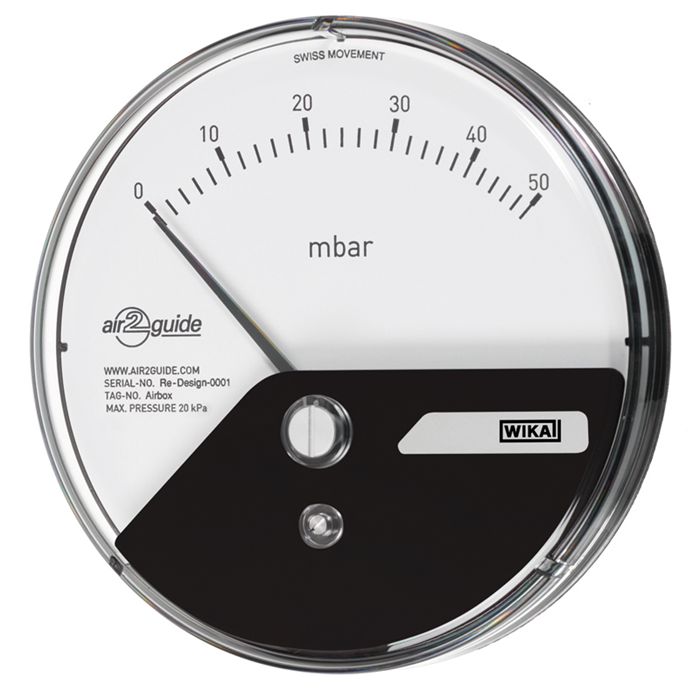 Differential pressure gauge specifically for clean rooms