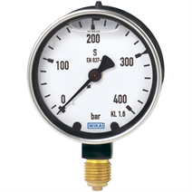 Bourdon tube pressure gauge, copper alloy